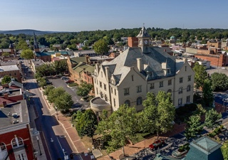 Aerial view main Winchester Police building in Winchester VA